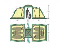 Кемпинговая палатка Alexika Maxima 6 Luxe (green)-2
