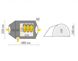 Туристическая палатка Talberg Atol Alu 3-2