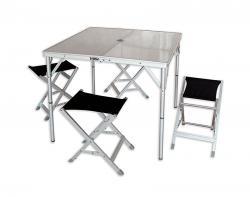 Комплект кемпиноговой мебели: стол и 4 табурета World of Maverick HQ-046F