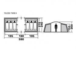 Кемпинговая палатка Trek Planet Toledo Twin 6-2